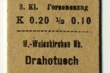 Hranicemi projel před 170 lety první vlak / fotogalerie / Jízdenka z Hranic do Drahotuš vypadala v roce 1891 takto, foto: archiv Milana Králika