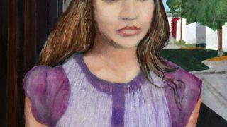 Miroslav Šnajdr st. – Obrazy, kresby / fotogalerie / Fiona Apple. Temná zpěvačka (2012) Tempera a olejový pastel na plátně 10 × 70 cm