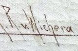 Z muzejních sbírek: Malíř, rytíř, portrétista / fotogalerie / Signatura na obraze Raimunda Rittera von Wichery, foto: archiv MKZ Hranice